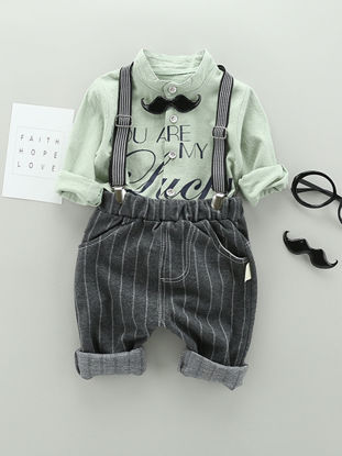 صورة 2 Pcs Boy's Clothes Set Groovy Mustache Decor Shirt Overall Set