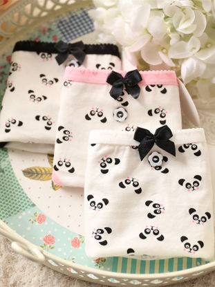Picture of Women's 5 Pack Panties Cute Panda Cartoon Pattern Bow Button Sweet Briefs