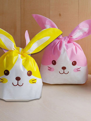 Picture of 100 Pcs Cookie Packing Bags Adorable Cartoon Rabbit Design Multi-Use DIY Candy Bags