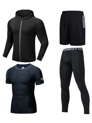 Picture of 4Pcs Men's Training Sets Elastic Breathable Quick Drying Plus Size Sports Set