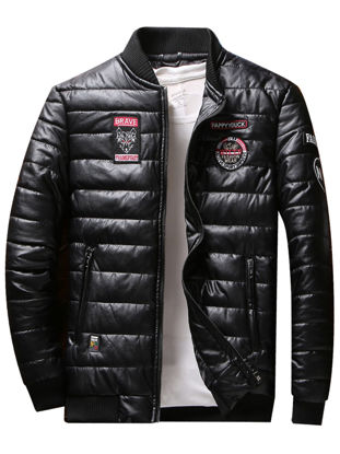 Picture of Men's Quilted Coat Stand Collar Appliques Pockets Lightweight Warm Plus Size Quilted Coat