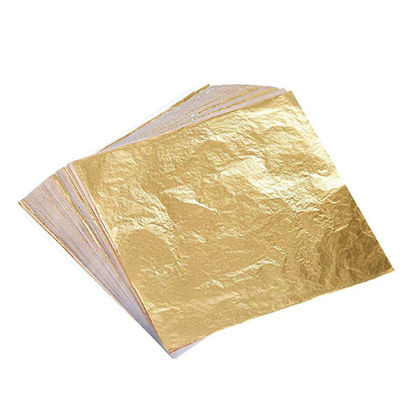 Picture of 100 Sheets Imitation Gold Foil Paper Multipurpose Desk Wall Ceiling Decorative Papers