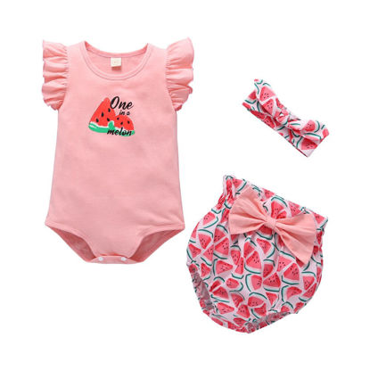 Picture of Girl's 3Pcs Casual Suit Print Rompers Simple Hairband Bow Shorts Set
