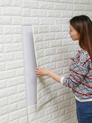 صورة 1 Pc Wall Sticker 3D Bricks Pattern Solid Self-adhesive Supple Wall Decor