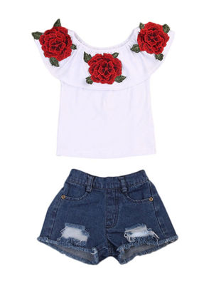 Picture of Girl's Clothes Flower Decoration Patchwork Collar Top And Frayed Denim Shorts
