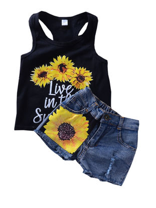 Picture of Girls Two Pieces Set Sleeveless O Neck Floral Pattern Denim Shorts Set