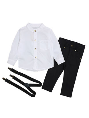 Picture of 3 Pcs Baby Boy's Set Solid Color Long Sleeve Shirt Long Pants Set With A Strap