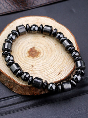 Picture of Healthy Weight Loss Black Stone Biological Magnetic Therapy Elastic Bracelet Health Slimming Product
