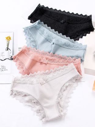 Picture of Women's 4 Pack Panties Solid Color Lace Hem Bow Decoration Sweet Style Briefs