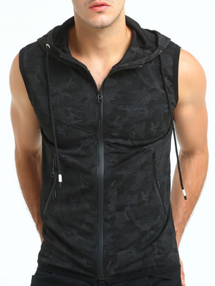Picture of Men's Hooded Vest Jacket Camouflage Printed Zipper Opening Casual Slim Sleeveless Top