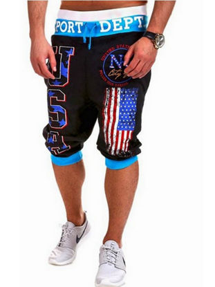 Picture of Men's Shorts Print Color Block Drawstring Tight Cuffs Cropped Pants