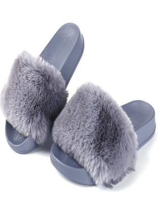 Picture of Women's Slippers Solid Color Plush Non-slip Outdoor All Match Slippers