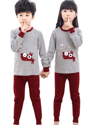 Picture of 1 Set Kid's Family Outfits Cartoon Animal Print Casual Pajamas Set Family Outfits