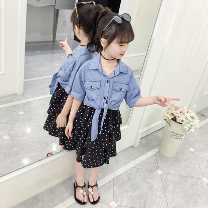 Picture of Girl's 2Pcs Set Solid Color Denim Jacket Polka Dot Printed Slip Dress Cute Set