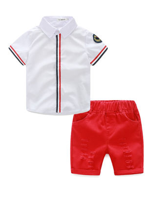 Picture of Boy's Shorts Set 2 Pcs Short Sleeve Shirt Cool Kids Clothes