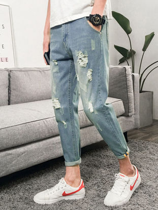 Picture of Men's Jeans Casual Slim Fashion Holes Cropped Denim Pants