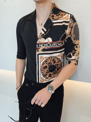 Picture of Men's Shirt Notched Collar Patchwork Half Sleeve Top