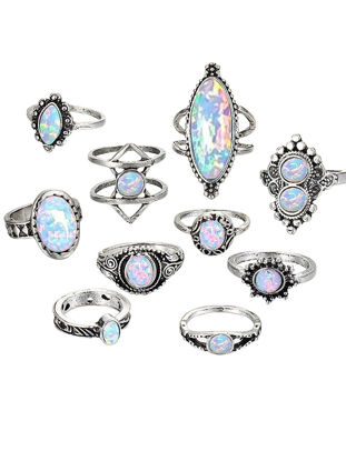 Picture of 10Pcs Women's Rings Set Chic Retro Opal Inlaid Rings Fashion Accessories