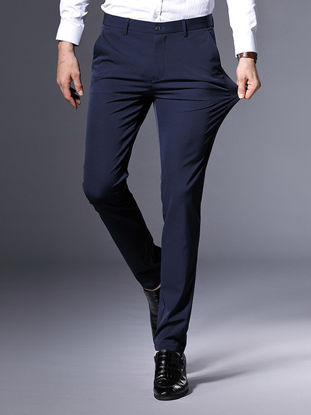 Picture of Men's Suit Pants Mid Waist Solid Color All Match Straight Slim Pants