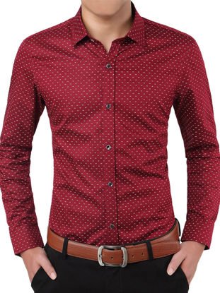 Picture of Zhuowolves Men's Shirt Casual Polka Dots Fashion Long Sleeve All Match Shirt
