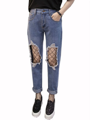 Picture of Women's Jeans Solid Mid Waist Frayed Hollow Out Straight Plus Size Pants
