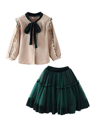 Picture of Girls 2 Pcs Skirt Set Ruffle Long Sleeve Soft Bow Breathable Suit