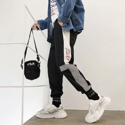 Picture of Hip hop ins loose casual pants personality reflective dance di beam foot harem pants men and women pants