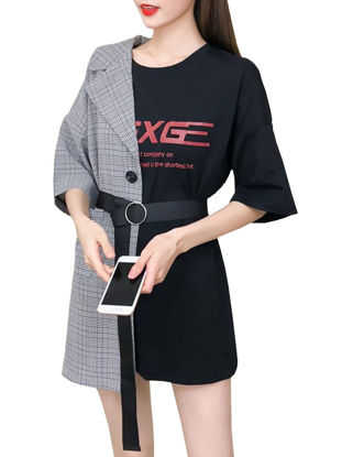 Picture of Women's T Shirt Dress Loose Patchwork Letter Dress
