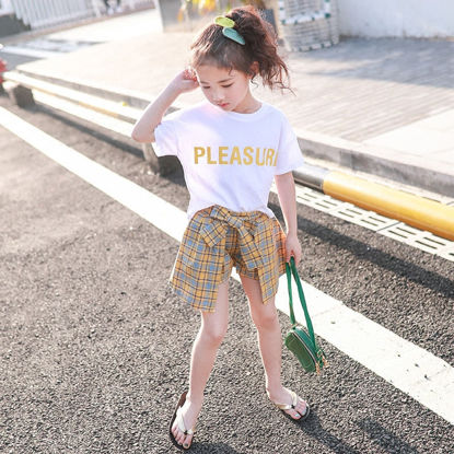 Picture of Girls 2 Pcs Shorts Suit Checkered Pattern Short Sleeve Comfy Set
