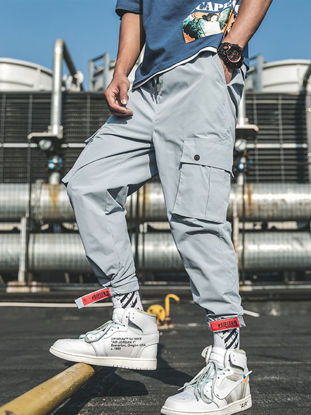 Picture of Men's Cargo Pants Casual Solid Color Pockets Trousers
