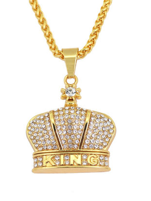 Picture of Men's Necklace Crown Pendant Rhinestone Inlay Necklace Accessory