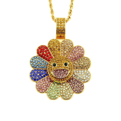 Picture of Men's Necklace Sunflower Shape Pendant Rhinestone Inlay Necklace Accessory