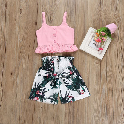 Picture of Girl's Casual Suit Sleeveless Solid Color Top Print Pants Set