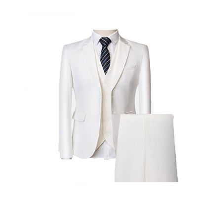 Picture of Men's 3Pcs Blazer Set Solid Color Notched Neck Business Fashion Suits