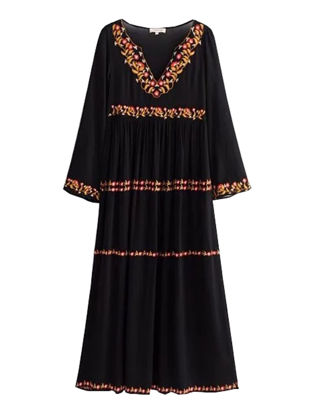 Picture of Women's Dress Long Sleeve V Neck Embroidery Casual Dress