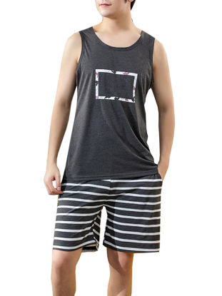 Picture of Men's Pajama Set O Neck Sleeveless Top Striped Pattern Shorts Home Suit