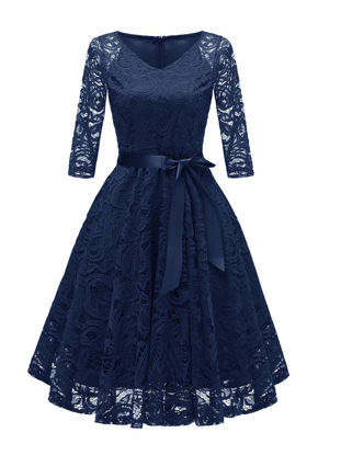 Picture of Women's Dress Half Sleeve V Neck Lace Hollow Out Sash Aline Dress