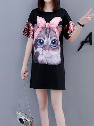 Picture of Women's T Shirt Dress Sequins Animal Print Loose Dress