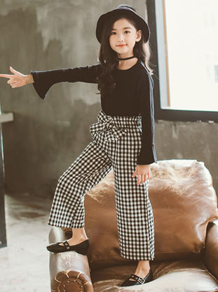 Picture of Girl's 2 Pcs Wide Leg Pants Set Simple Style Plaid Suit