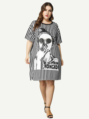 Picture of JOLLY HOLLA Women's Plus Size Dress Striped Figure Printed Causal Shirt Dress