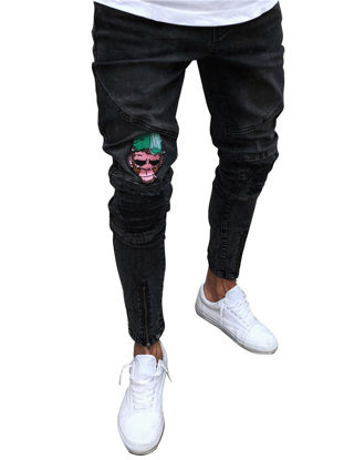Picture of Men's Slim Ripped Jeans All Match Stretchy Breathable Denim Jeans