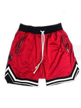 Picture of Men's Active Shorts Drawstring Waist Patchwork Embroidery Animal Loose Shorts