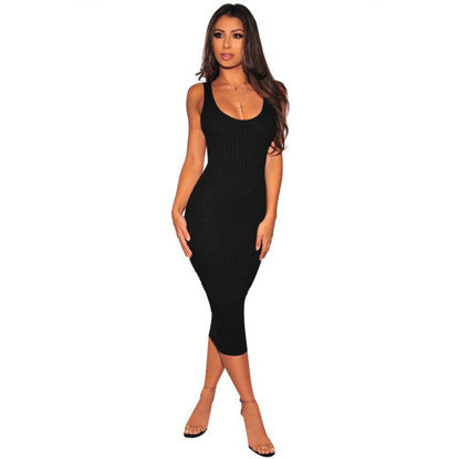 Picture of Women's Sheath Dress Solid Color O Neck Sleeveless Dress