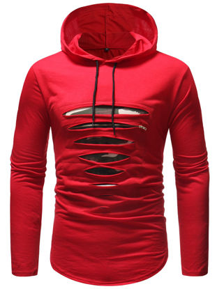 Picture of Men's T Shirt Fashion Hollow Design Hooded Design Long Sleeve Top