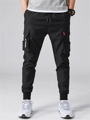 Picture of Men's Casual Pants Drawstring Waist Solid Color Pockets Fashion Ankle-tied Pants