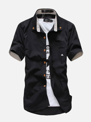 Picture of Men's Shirt Stylish Print Short Sleeve Breathable Cozy Shirt
