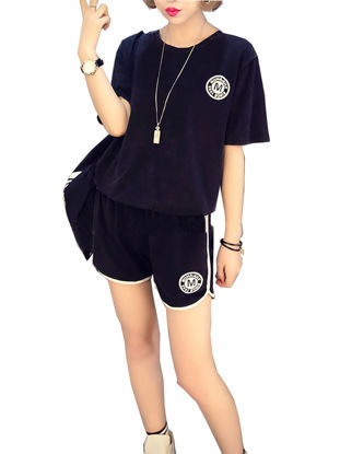 صورة Women's 2 Pcs Shorts Set Fashion All Match Loose O Neck Stylish Suit