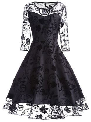 Picture of Women's Midi Dress High Quality Patchwork Embroidery A Line Dress