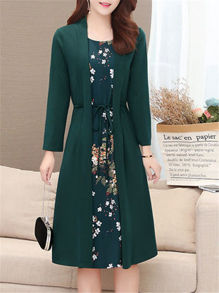 Picture of Women's Aline Dress Floral Patchwork Two Layers One Piece Sash Decor Dress