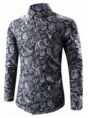 Picture of Men's Shirt Turn Down Collar Long Sleeve Print Top
